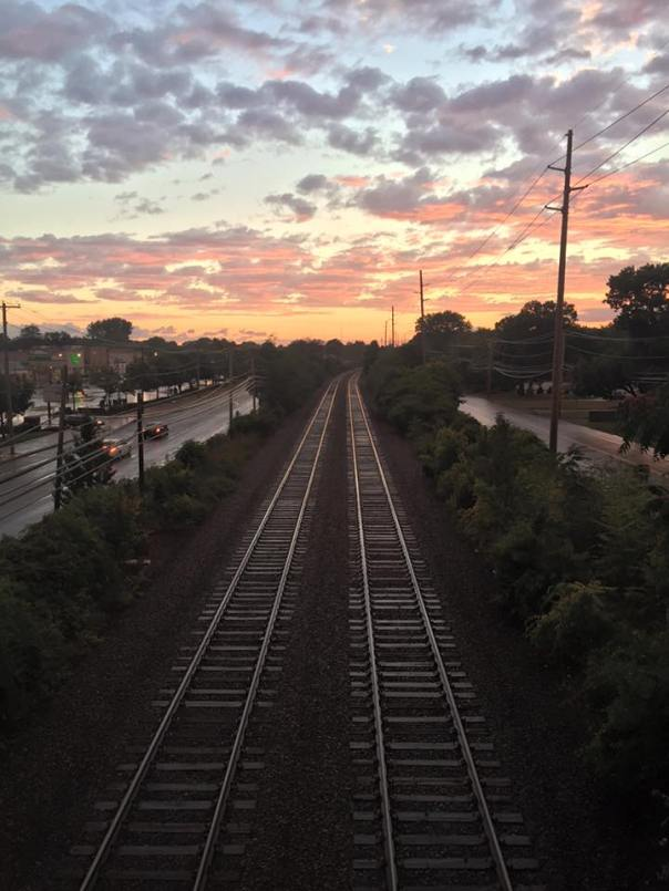 sunset over tracks